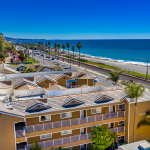 Aerial Shot of Beach Front with Ocean View